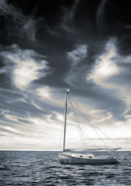 Catboat. Digital infrared fine gallery print.