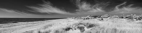 Black and white panoram of clouds over the ocean. Fine art digital print