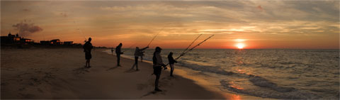 Fishing at dawn on Long Island coast. Wall size digital print.