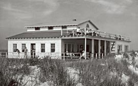 Old Long Island bulding. restored historical photograph.