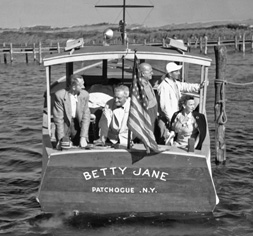 Betty Jane. Old power boat on Long Island Bay. Historical photograph.