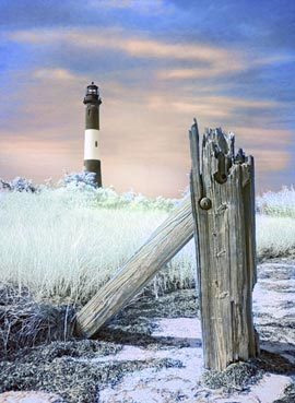 Fire Island Lighthouse. Abstract infrared digital photograph.