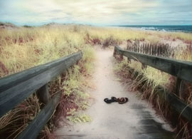 Beach walkway. Infrared image and Photoshop effects.