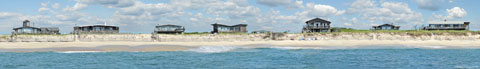 Ocean view of the summer cottages on Fire Island. Panoramic print taken with digital camera.