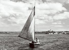 sail boat crossing Long Island Bay