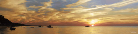 large size digital panoramic print of the sunset over the Long Island Sound