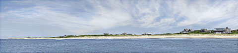 Panoramic view of the ocean shore. Fine art collection.